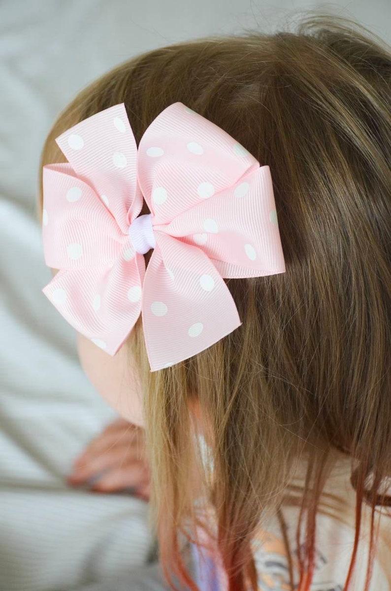 Toddler Hair Bow Large Hair Bow Jayden- Polka Dot Hair Bow White Dot Bow Infant Hair Bow Hair Bow Preemie Headband-Baby Headband