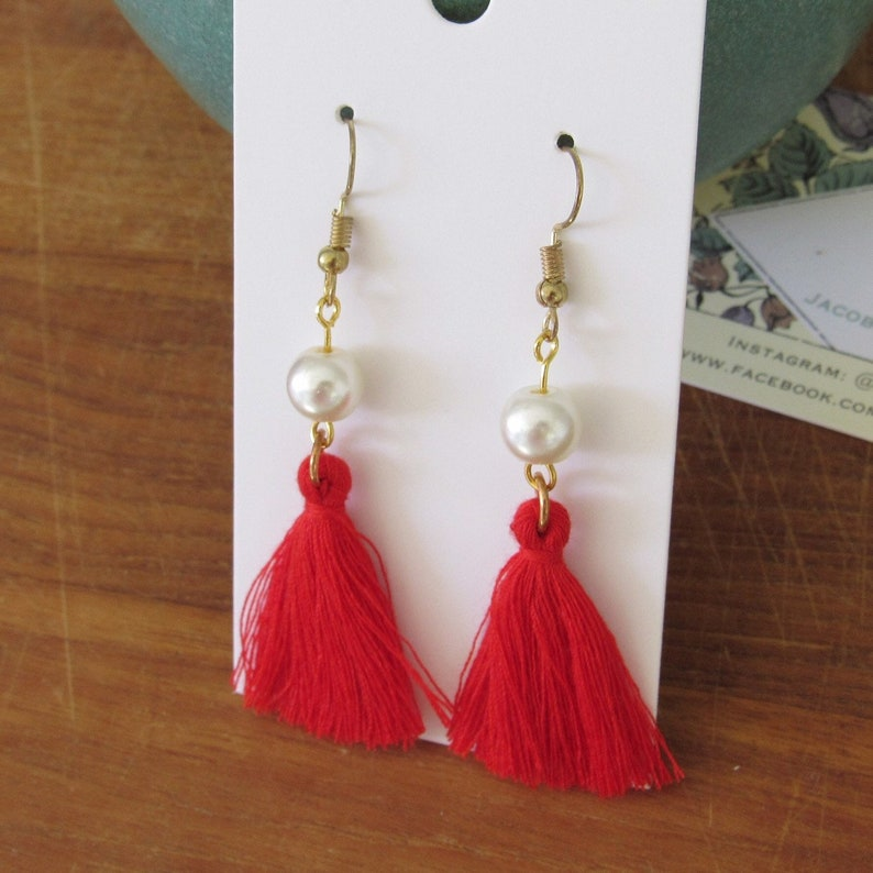 Blue Pink Red Pearl Mint Tassel Earrings Yellow or Pink w Gray