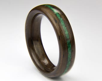 Bentwood Ring Handcrafted In  Indian Rosewood with Malachite Inlay //Wooden Jewelry//wood ring for men or women