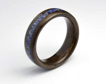 Bentwood Ring Handcrafted In  Indian Rosewood with  Lapis Lazuli Inlay //Wooden Jewelry//wood ring for men or women