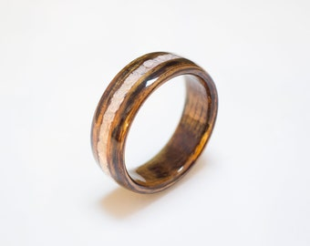 Bentwood Ring Handcrafted In Koa wood with Mica flake inlay    //Wooden Jewelry//wood ring for men or women