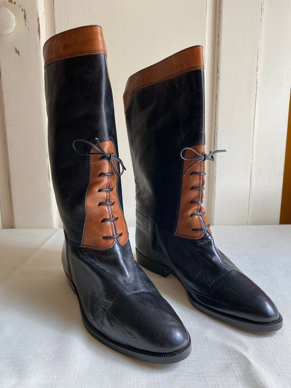 Joan and David Black Brown Leather Riding Boots La