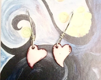 Snow White Enameled Hearts Kiln Fired Enameled Copper Earrings with  Sterling Silver Earwires
