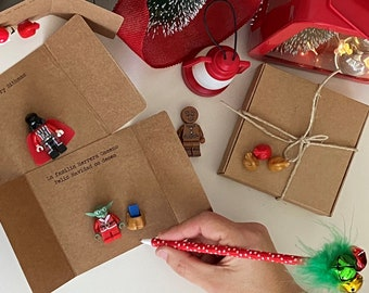 Christmas cards, xmas card with STAR WARS minifigures; Disney....