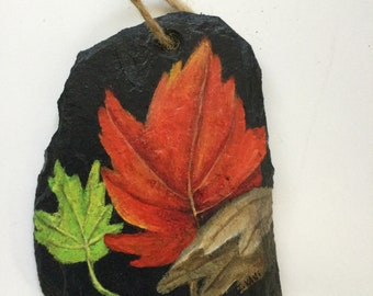 Welcome Winter village slate painted with acrylic Size 8 x 12   Price 45.00