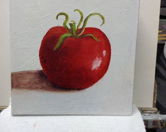 Red tomato painted on Canvas in acrylic . 27.00