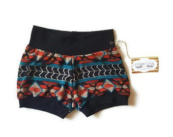 Unisex baby clothes, baby shorts, southwestern  baby clothes, summer baby clothes, trendy baby, yoga waist shorts, gender neutral gift