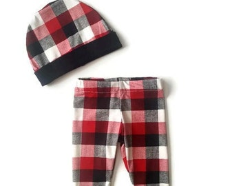 Buffalo plaid baby legging set, baby boy leggings, baby boy clothes, trendy baby boy, boy pant and hat set, legging and beanie, baby gift