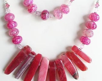 Pink Agate Statement Set