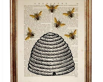 Art Old Fashioned Pure Honey Bee Wall Plaque Wood Farm Nature