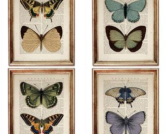 Set Of 4 Prints, Butterfly Wall Art Prints, Butterfly Nursery Decor,  Dictionary Art Print Butterfly Wall Decor Butterfly Art Prints Wall Art