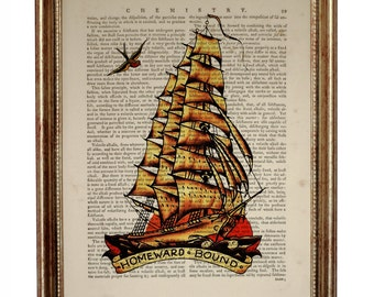 Sailor Jerry Decor, Sailor Jerry  Art Print, Homeward Bound Ship, Dictionary Art Print, Upcycled Book Page, Gift For
