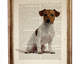 Jack Russell Terrier Print, Jack Russell Terrier Dog Dictionary Art Print, Jack Russell Terrier Art Print, Terrier Dog Portrait, Dog Gifts