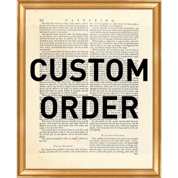 Custom Order DICTIONARY ART PRINT, Book Page Art, Gift Ideas, Customized  Personalized, Made to Order Prints Specially Made, Prints Wall Art