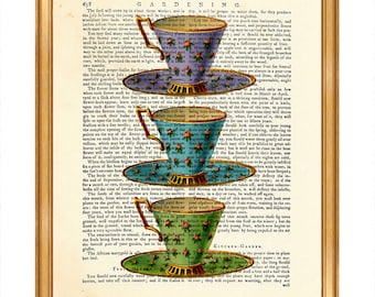 Tea Cups Set Print, Vintage Teacup Dictionary Art Print, TEA CUP Wall ArtBook Page Tea Cup Art Print Ceramic Cup Poster Decoration Gift