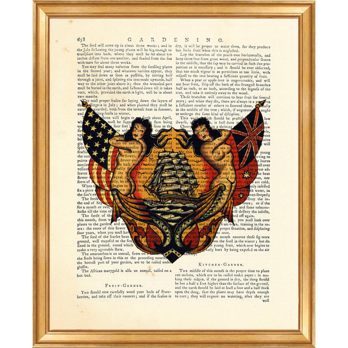 sailor jerry wall art sailor jerry tattoo dictionary art etsy