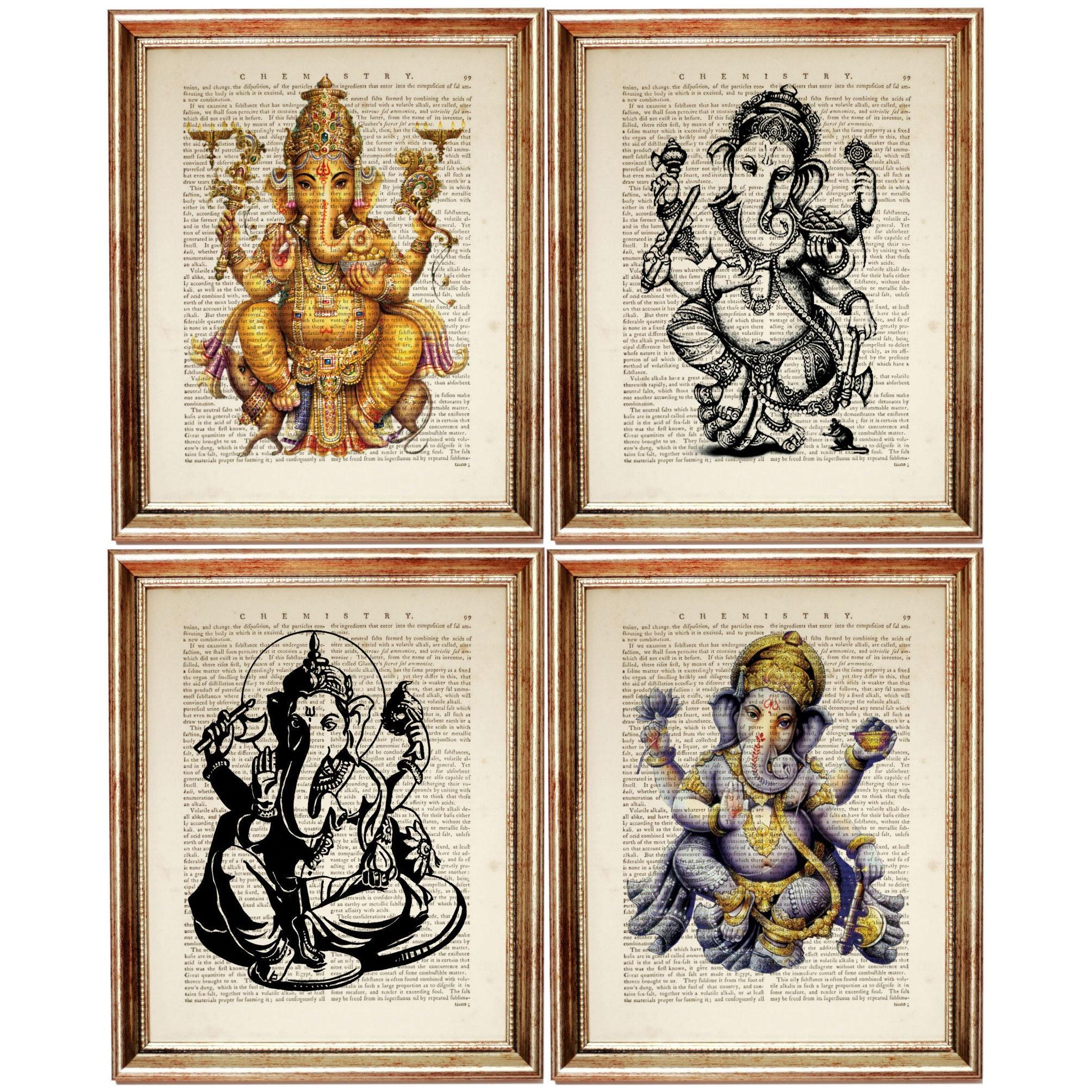 Set of 4 prints ganesha wall art ganesha wall decor ganesha wall