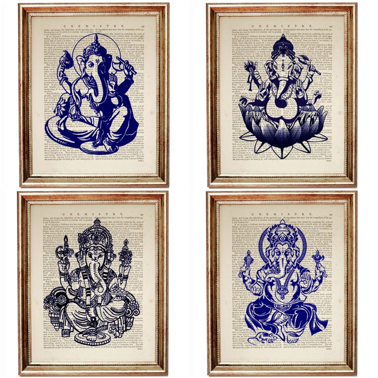 Cobalt Blue Wall Decor, Set of 4 Prints, Ganesha Wall Art ...