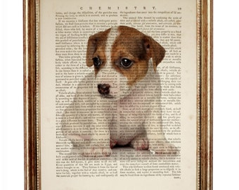 Jack Russell Terrier Art Print, Jack Russell Terrier Dog Dictionary Art Print, Jack Russell Terrier Print, Terrier Dog Portrait, Dog Gifts