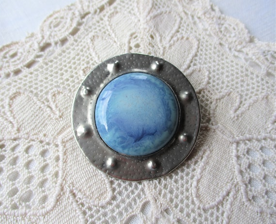 Arts and Crafts Ruskin Style Pewter Ceramic Brooch