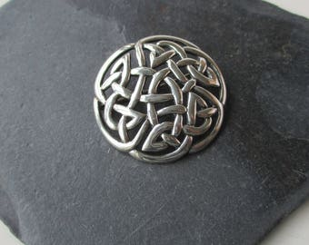 Vintage Silver Celtic Knot Brooch, 925 Silver, Silver Pin, 25th Anniversary, Gift for Her