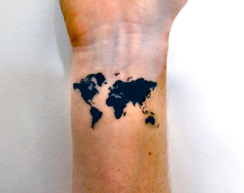 World Map Temporary Tattoo Map Of The World Tattoo Travel Etsy