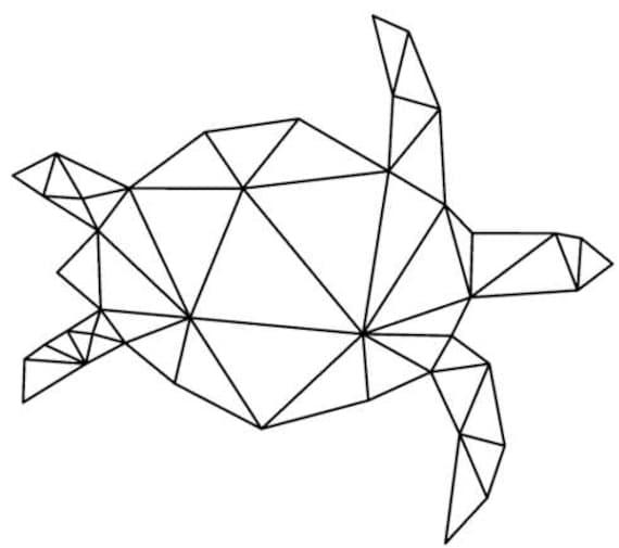 Tortue Geometrique Tatouage Temporaire Tatouage De La Mer Etsy