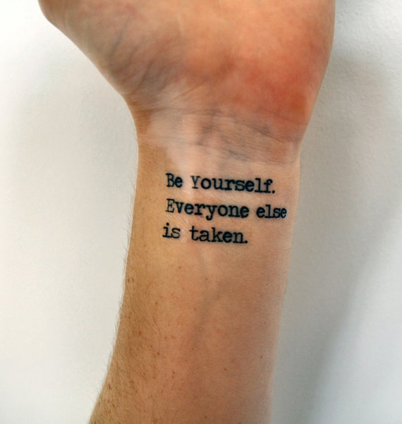 Tattoo Quotes About Yourself: Individuality Quote Temporary Tattoo Oscar Wilde Be