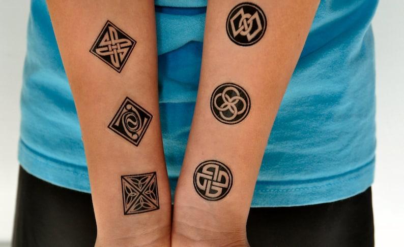 Ornamental Wzór Tymczasowy Tatuaż Zestaw 6 Symbole Tatuaż Buddyjski Symbole Indie Tymczasowy Tatuaż Hipster Tatuaż Zen Tattoo