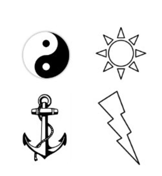 Yin Y El Yang Relámpago Ancla Y Sol Temporal Tatuaje Nudillo Etsy