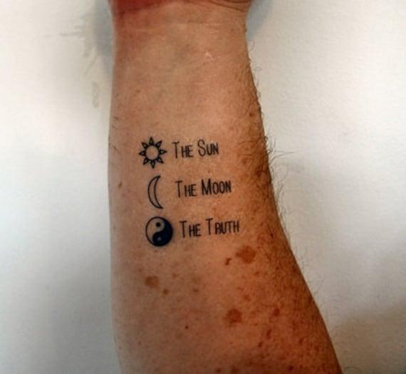 Słońce Księżyc Prawda Tymczasowy Tatuaż Ying Yang Tattoo Sun Tattoo Moon Tattoo Crescent Tattoo Indie Tattoo Tatuaż Hipster