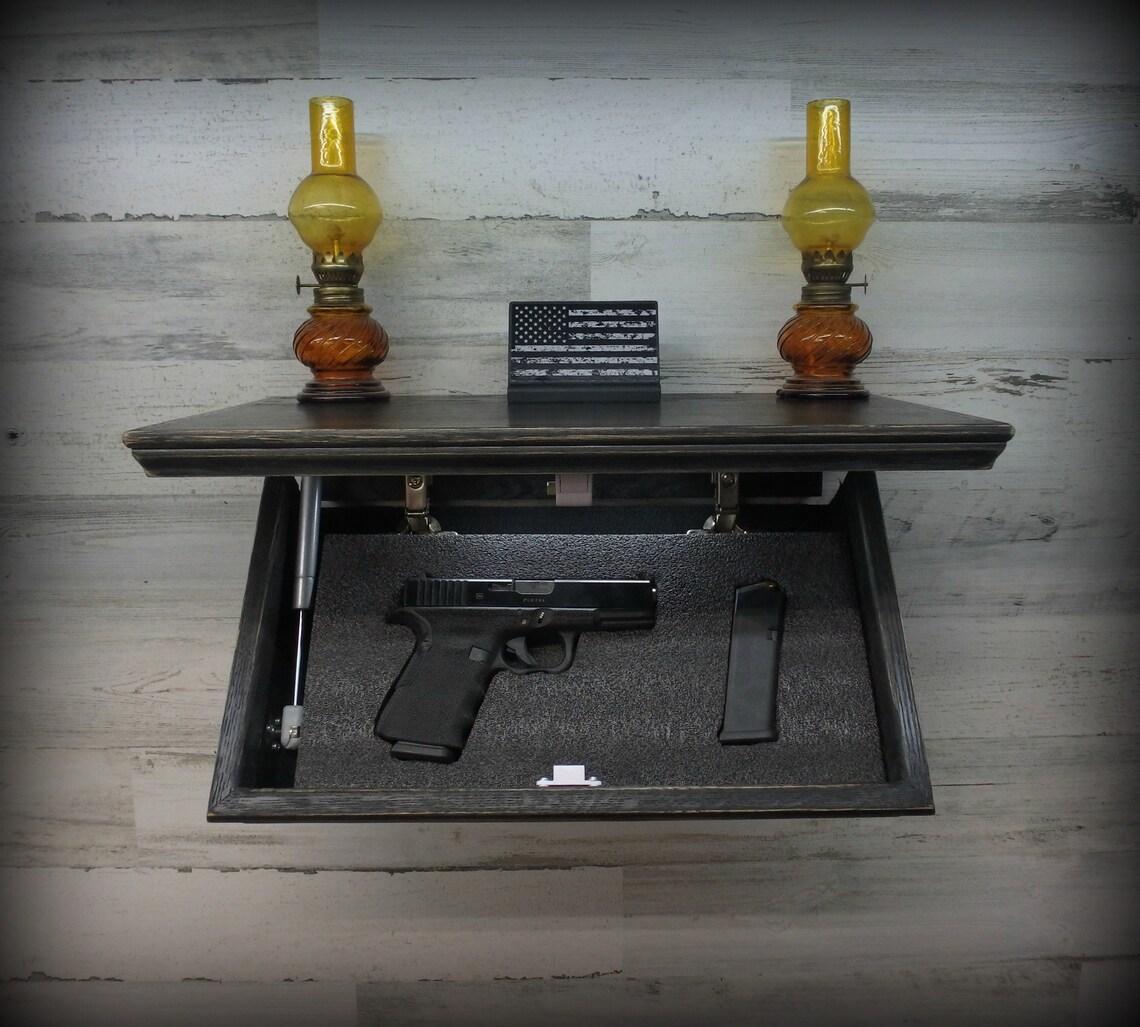 """18"""" X 10""""  Oak Tactical Concealment Shelf With Secret Hidden Compartment For Hand Guns,Valuables,etc"""