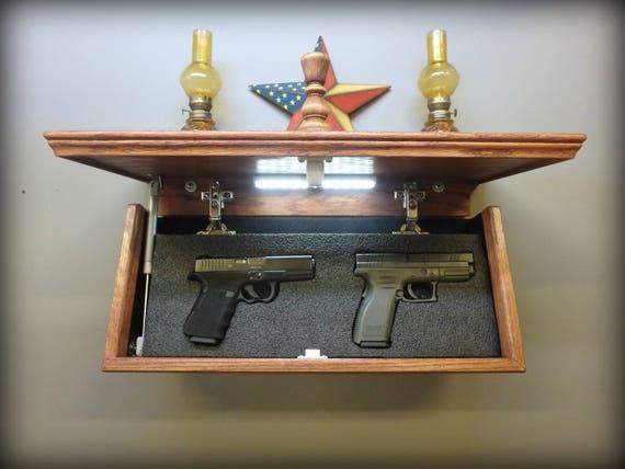 """35/"""" Oak  Hidden Compartment Tactical Gun Concealment Shelf"""