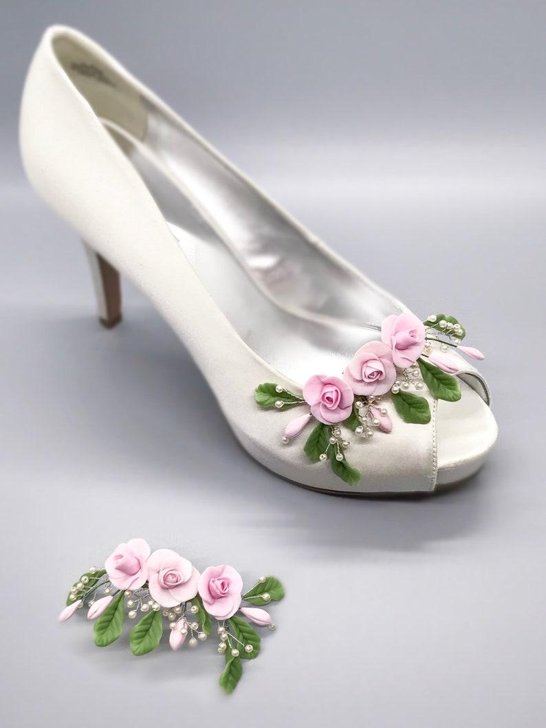 df0758a78 Bridal shoe clips floral shoe clips flower shoe clips shoe