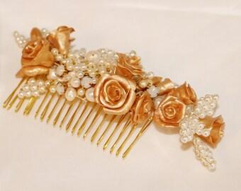 Gold comb, bridal comb, bridal gold comb, pearl comb, flower comb, bridesmaids comb