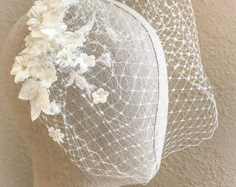 Birdcage Veil, Bridal Veil, Bandeau Birdcage Veil, Blusher Bird Cage Veil,bridal veil