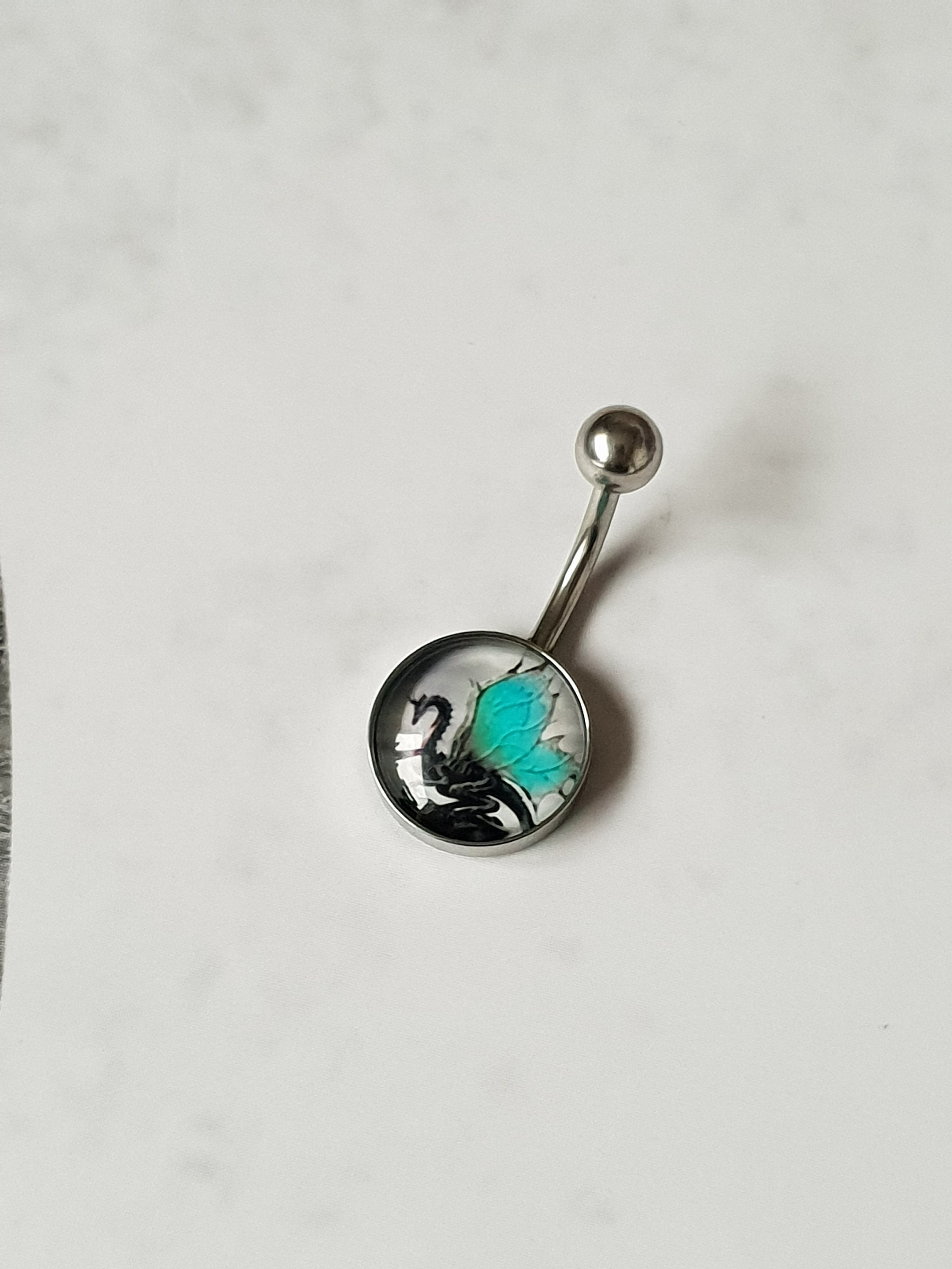 Surgical Steel Bar Dangle Belly Bar Zip in Display Packet