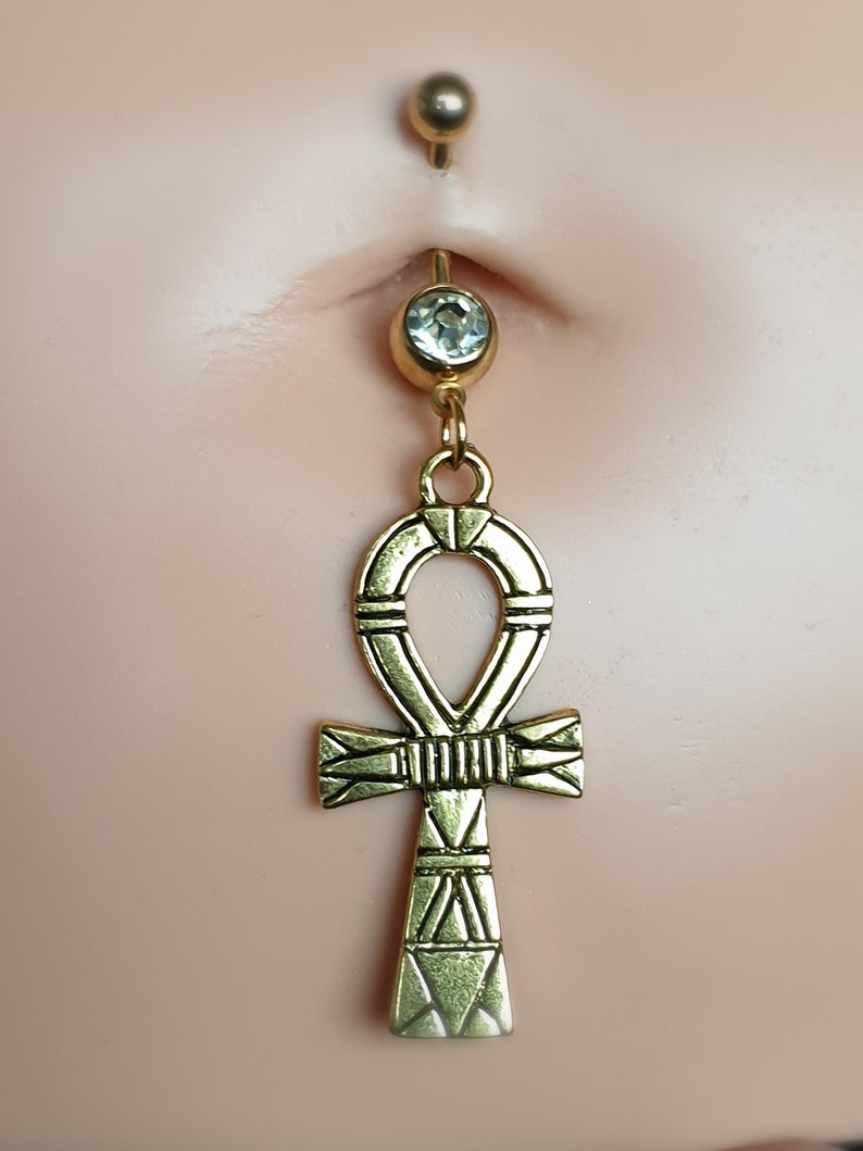 Egyptian Ankh Cross Belly Button Ring Gold Titanium Navel Rings Clear Gemstone Best Friend Gifts Unique Jewellery