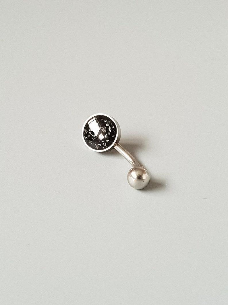 Dainty Foil Belly Button Bar Small Steampunk Minimalistic Black Jewellery Summer Boho Piercing Silver Navel Belly Bars No Charm 14g