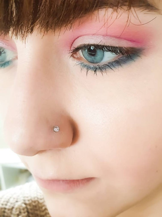 3mm Pink Cubic Zirconia Nose Stud L Bend Nose Studs Surgical Etsy