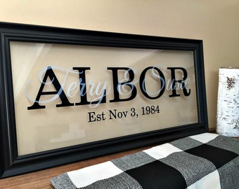 Gift for Newlyweds, Newlywed First Christmas, Newlywed Gift, Our First Christmas, Our First Home, Personalized Last Name Family Sign