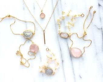 Geode Bracelet, Druzy Bracelet, Minimalist Bracelet, Dainty Bracelet, Rose Quartz Bracelet, Bridesmaid Gift Wedding Jewelry  AAFTAB