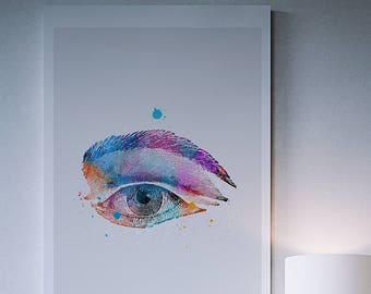 The Eye Watercolor Print Vintage Illustration Watercolour Poster The Eye Painting Colourful Print Watercolor Painting