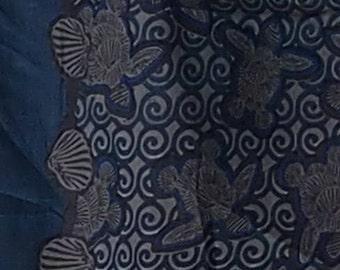 Cotton sarong - Shell Turtle Navy