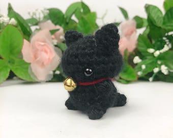 Mini Black Cat Amigurumi Keychain - Black Cat Plush - Cat Plush - Cat Amigurumi - Kawaii Cat - Cat Keychain - Cute Kitty Plush
