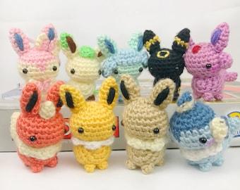 Amigurumi Pokemon - Mini Eeveelution Amigurumi Plush Keychain Set - Pokemon Plush - Eevee Amigurumi - Eeveelution Plush
