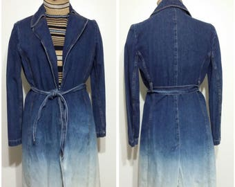 Bebe denim coat, XS, S, denim jacket, acid dyed jacket, denim coat, acid dyed coat, 80s coat, 80s jacket, vintage denim jacket, wrap coat