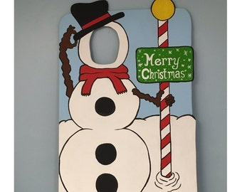 snowman photo booth prop wood winter wonderland face in hole prop personalized sign indoor outdoor decorations winter onederland