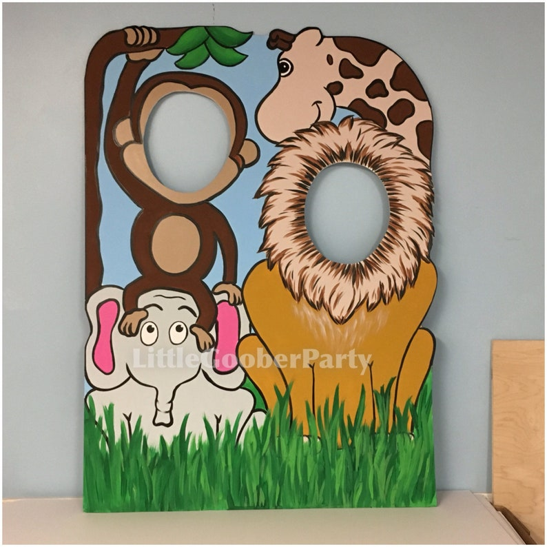 Jungle Birthday Party Prop   Jungle Cutout   Safari Face in Hole Photo  Booth Prop Outdoor Decor