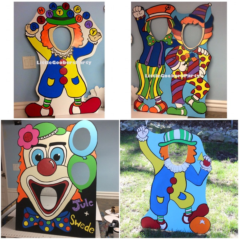 Carnival Birthday Party   Clown Photo Booth Prop Cutout and Balloon Holder    Circus Stand-in